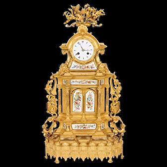Napoleon III French Ormolu Bronze Opaline-Mounted Clock for Ottoman Turkish