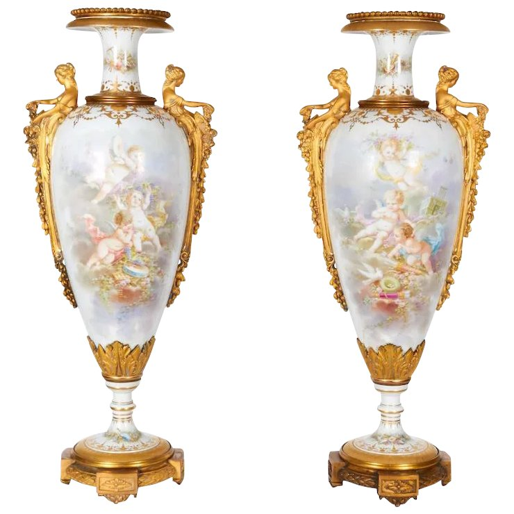Monumental Pair Of French Ormolu Mounted Sevres Style Porcelain