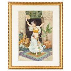"Fabio Fabbi ""The Tambourine Dancer"" Orientalist Watercolor"