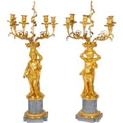 Pair of French Ormolu and Bleu Turquin Marble Candelabra Monbro Frères