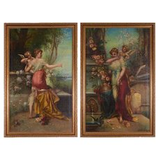 Hans Zatzka Attributed Pair of Oil on Canvas Paintings Venus and Psyche, Austria