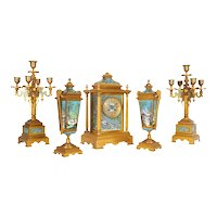 French Ormolu Bronze Cloisonne Champleve Enamel Five-Piece Clock Garniture Set