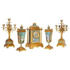 French Ormolu Bronze Cloisonne Champleve Enamel Five-Piece Clock Garniture Set