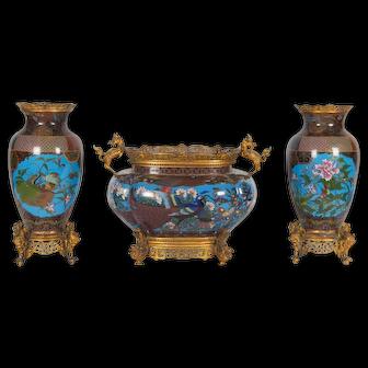 French Japonisme Ormolu-Mounted Japanese Cloisonné Enamel Garniture Centerpiece