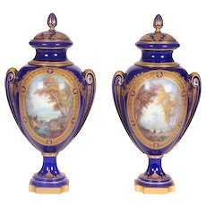 Pair of Napoleon III Sevres Porcelain Cobalt Blue Vases and Covers on Ormolu