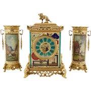 "French ""Japonisme"" Gilt-Metal Mounted Three-Piece Porcelain Clock Garniture"