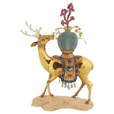 Chinese 18-karat Solid Gold Enamel and Precious Stone Deer with Jade