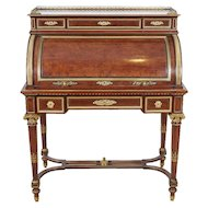 French Ormolu-Mounted Bureau a Cylindre Roll Top Desk Signed H. Fourdinois