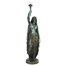 "Emile Guillemin Bronze Sculpture Torchiere Lamp ""Femme Indienne"" Barbedienne"