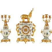 French Japonisme Ormolu-Mounted Chinese Famile Verte Porcelain Clock Garniture