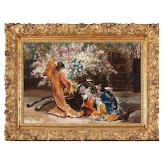 Exceptional French Japonisme Oil on Panel Painting by Felix Armand Heullant