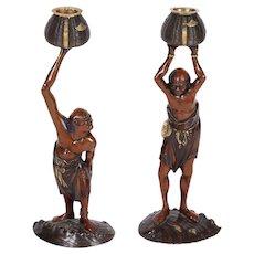 Exquisite Pair Japanese Meiji Mixed Metal Bronze Oni Figures of Ashinaga Tenagu