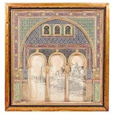 Large Spanish Plaster Wall Plaque Depicting the Alhambra Moorish Islamic Taste