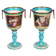 Pair of French Sevres Style Turquoise Porcelain Cups or Vases