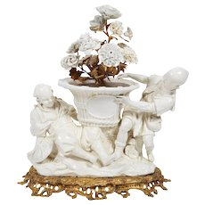 French Chinoiserie Ormolu Bronze & Blanc De Chine Porcelain Group of Chinese Boy