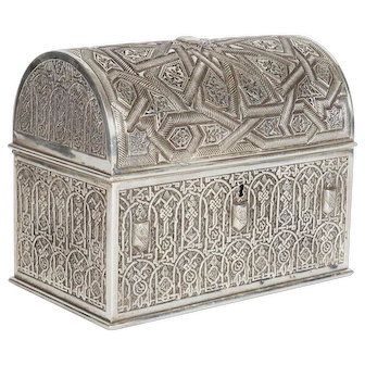 Electroplate Islamic Alhambra Model Casket Box by Rafael Contreras Granada Spain