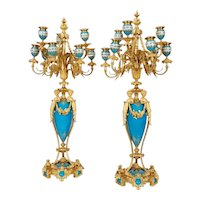 Exquisite Pair of French Ormolu and Turquoise Sevres Porcelain Candelabra