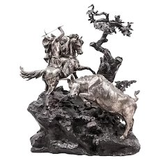 Monumental French Patinated and Silvered Bronze Figural Group of Soldier & Bull