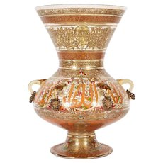 Pair of French Enamelled Mamluk Revival Glass Mosque Lamps by Philippe Joseph Brocard