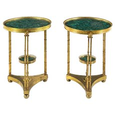 Pair of French Louis XVI Style Gilt Bronze and Malachite Gueridon Tables