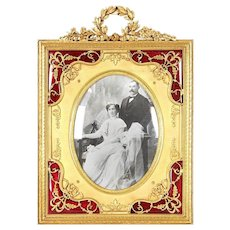 A French Gilt Bronze Ormolu and Red Guilloche Enamel Picture Photo Frame, 19C