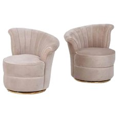 A Pair of Pink Petite Art Deco Swivel Lounge Chairs Sofas