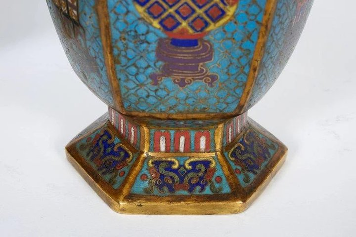 Pair Of Blue Chinese Cloisonne Enamel Vases Qing Dynasty Qianlong