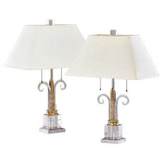 Midcentury Hollywood Regency Table Lamps Gilbert Rohde Mutual Sunset Lighting