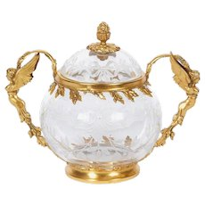 French Silver Gilt Etched Glass Bowl with Cover Attributed to Boucheron Paris