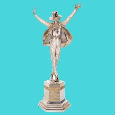 """Large Solid Silver Figure Statue of Michael Jackson """"King of Pop"""" by Dhand"""