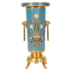 French Gilt Bronze and Champleve Cloisonne Enamel Vase by Ferdinand Barbedienne