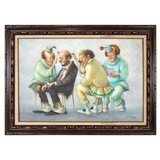 """Italian """"Clown Doctors"""" Oil on Canvas Painting Signed Barcelo"""