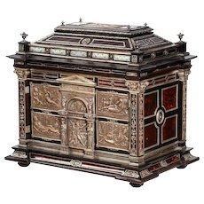 Important Silver & Viennese Enamel Mounted Tortoiseshell Jewelry Cabinet Box