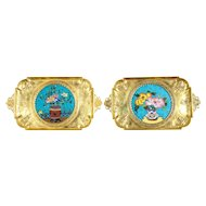 Rare Pair of French Japonisme Bronze & Cloisonne Enamel Trays Attributed Lievre