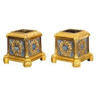 Exquisite Pair of French Ormolu and Lapis Lazuli Cachepots Planters, circa 1850