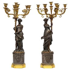 Large Pair of French Gilt and Patinated Bronze Candelabra on Swedish Porphyry