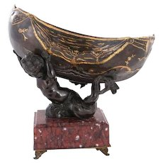 French Parcel Gilt Bronze Figural Centerpiece on Rouge Marble Base