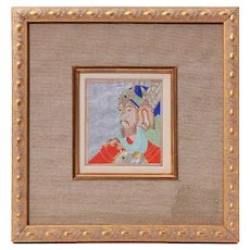 Framed Middle Eastern Watercolor Miniature, 19th C.