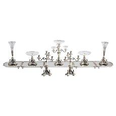 Twelve-piece Egyptian Revival Silver-plate & Cut Glass Surtout de Table Service