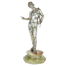 Large Italian Silver Figure of a Male Nude Narcissus after the Antique