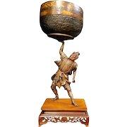 Large Japanese Meiji Bronze Figural Samurai on Wood Base 19th Century