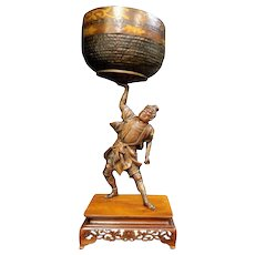 Large Japanese Meiji Bronze Figural Samurai on Wood Base 19th Century