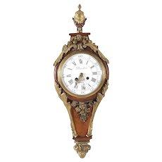 French Bronze Mounted Kingwood Cartel Wall Clock Planchon Paris
