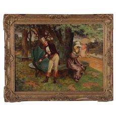 "Henry Gillard Glindoni British Oil On Canvas ""Spring Shower"" Signed Dated"