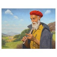 """PAP DOMOKOS Greek Signed Oil on Canvas """"Flute Player"""" Exceptional Quality"""