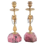 Pair Russian Gilt Bronze & Rhodonite Candlesticks with Eagle