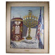 """Rose P. Acron, Still Life of Judaica Oil on Canvas Painting """"Hope of Israel"""""""