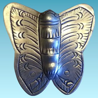Vintage 1930s Old Pawn Navajo Sterling Silver Butterfly / Moth Pin