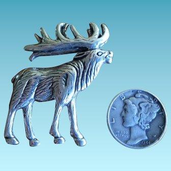 Vintage Navajo Sterling Silver Elk Pin by Glenn and Irene Sandoval 1970s