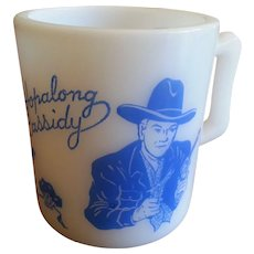 Vintage Cowboy Hopalong Cassidy Milk Glass Mug Child's Cup